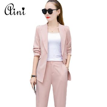 Costumes for Women Trouser Suit 2017 Notched Office Uniform Designs Womens Business Suits Blazer with Pants Formal Ladies Wear