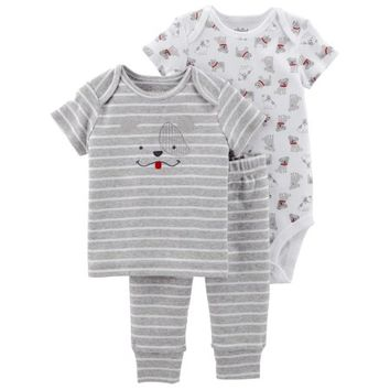Child of Mine by Carter's Baby Boy Shirt, Bodysuit, & Pants, 3pc Outfit Set - Walmart.com