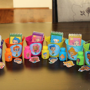 Bubble Guppies Party Favor Kit #2...Includes 6 Tin Pails, 6 notepads, 6 mini bubbles, & 6 stickers...everything you need!
