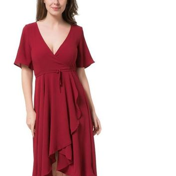 Ladies Summer Long Dresses With Sleeve Womens Vintage Red Ruffles V Neck Half Sleeve Split Maxi Dress