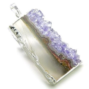 Brazilian Lucky Agate Slice and Amethyst Druze Crystals Charm Gemstone Dipped in Silver Pendant