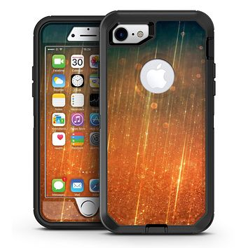 Orange Scratched Surface with Gold Beams - iPhone 7 or 7 Plus OtterBox Defender Case Skin Decal Kit