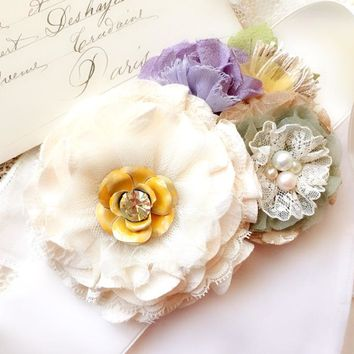 Bridal Sash with Flowers