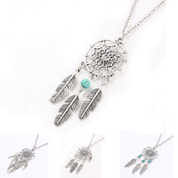 Dream Catcher with Leaves Pendant Necklace