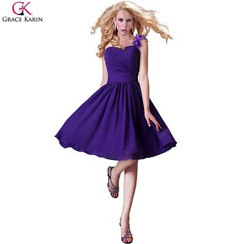 Sweetheart Grace Karin Short Chiffon One Shoulder Knee Length Bridesmaid Dresses Purple Semi Formal Dress Party Flower CL3431