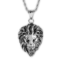 Crucible Men's Stainless Steel Lion Head Pendant on 24 Inch Rope Chain Necklace | Overstock.com Shopping - The Best Deals on Men's Necklaces