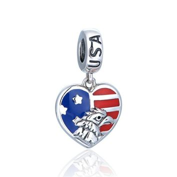 GW Heart Flag of American national bird Bald eagles charms made from silver fit pandora style bracelets necklace usa jewelry No70 lw S442