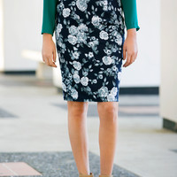Elegant Rose Pencil Skirt