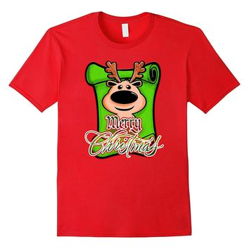 Funny Cute Merry Christmas Reindeer - Holiday Season T-Shirt