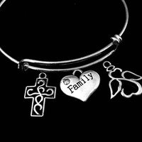 Family Open Heart Angel Filigree Cross Adjustable Bracelet Expandable Charm Bracelet Wire Bangle Gift