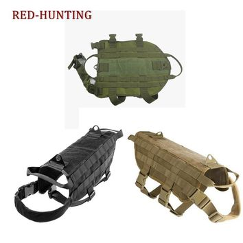 Tactical Military Nylon Dog Vest  Molle System Police Dog Training Dog Harness Hunting Vest Clothes Load Bearing Harness M-XL