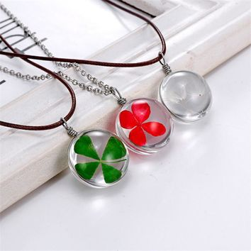 Crystal glass Ball Clover Necklace Long Strip Leather Chain Dried flower Pendant