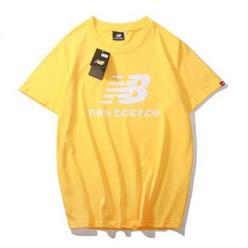 New Balance Summer Fashion New Bust Letter Print Sports Leisure Women Men Top T-Shirt Yellow