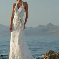 Sweet Halter V-neckline Lace Beach Wedding Dress Bridal Gown With Bow And Beads