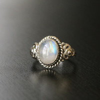 Designer Rainbow Moonstone 925 Silver Ring