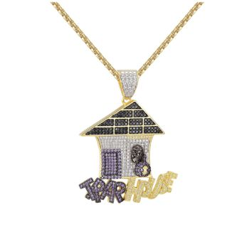 Iced Out 14K Trap House Simulated Diamond Pendant