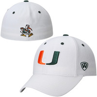 Miami Hurricanes Top of the World Dynasty Memory Fit Fitted Hat – White
