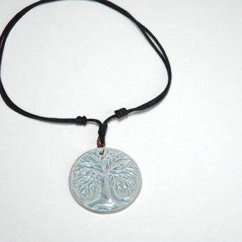 Carved tree pendant,winter tree necklace,grey blue clay bead,tree of life pendant,clay and leather,pottery jewelry,ceramic bead,tree bead