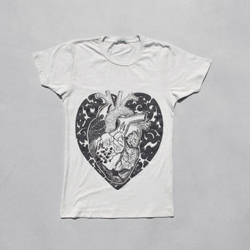 Women Fashion T shirt - Anatomical Heart T shirt, White T shirt
