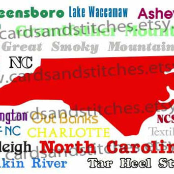 North Carolina (States) Subway Art - Digital Cutting File - Graphic Design - (SVG, DXF, JPG)
