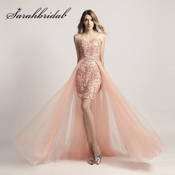 Short Pink Prom Dresses 2018 Sheer O Neck Embroidery Applique Illusion Back Party Cocktail Gowns with Long Tulle Train CC441