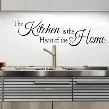 Kitchen is the Heart Of The Home Quotes Wall Art Stickers Waterproof Vinyl Posters Kitchen Decoration Home Decor Size 42x110cm
