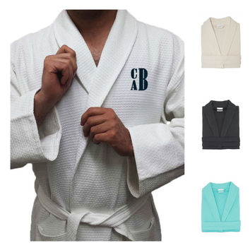 Personalized Top Quality Diamond Collar Waffle Anckle Length Bathrobe