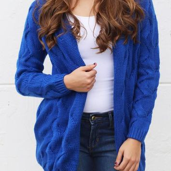 Dark Blue Plain Collarless Streetwear Acrylic Cardigan Sweater