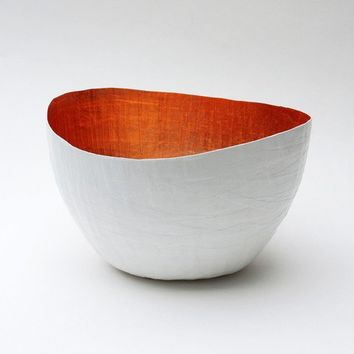 Paper Mache Vessel in White and Copper - The Wavy - Made to order