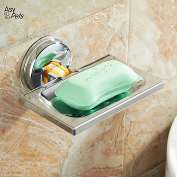 CREYLD1 AsyPets Strong Metal Suction Wall Soap Holder Dish Basket Tray Bathroom Shower Soap Cup-30