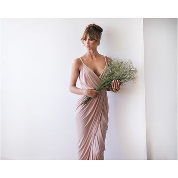 Blush Pink Maxi Wrap Bridesmaid Dress