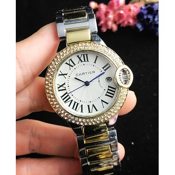 Cartier Popular Women Men Fashion Diamond Quartz Watches Wrist Watch