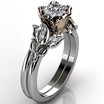 14k two tone white and rose gold diamond unusual unique floral engagement ring, wedding ring, engagement set ER-1062-5