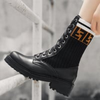 Free shipping-Fendi new women's stretch knit Martin boots