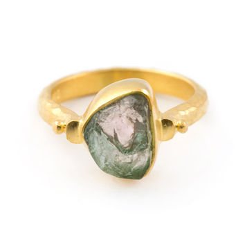 raw green tourmaline ring, rough tourmaline stone ring, natural green tourmaline ring