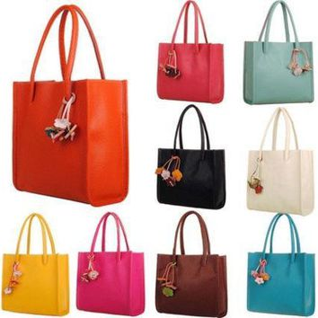 PEAPON Elegant girls & Women's handbags leather shoulder bag candy color flowers tote Size:29cm x 27cm x 9cm (Color:Yellow,Hot Pink,Red,White,Blue,Brown,Black,Green,Orange)