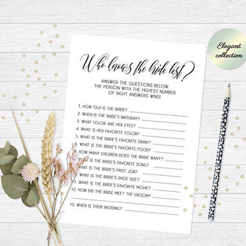 Who knows the bride best game, How well do you know the bride game, Printable bridal shower game, Classy printable bachelorette party game