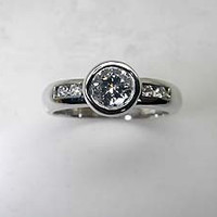 1.13ct G-SI1 Round Diamond Engagement Ring  EGL certified Platinum JEWELFORME BLUE