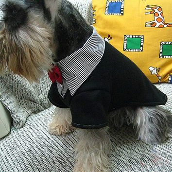Male Dog's Two-Piece Suit w/ Red Bow Tie Pet Clothing: Male Dog's Two-Piece Suit w/ Red Bow Tie Pet Clothing-Size 8