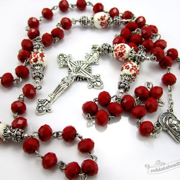 Red Porcelain Rosary, confirmation gift, catholic gift, girls rosary, red rosaries, catholic rosary, communion rosaries, confirmation rosary