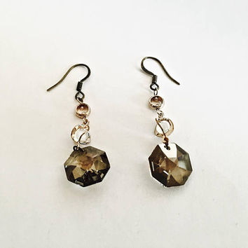 Vintage Faceted Smoky Topaz Swarovski Crystal Dangle Earrings with French Hooks,  BoHo, Gypsy, Brown Gray Crystal Drop Earrings