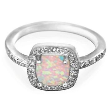 Princess Halo White Simulated Opal Ring Sterling Silver 925 (Sizes 4-10)