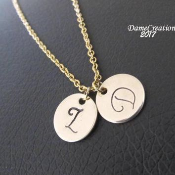 Brass Initial Necklace - Tiny Gold Initial - Tiny Letter Necklace - Stamped Initial Necklace - Stamped Jewelry - Personalized Jewelry