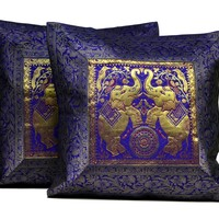 2 Purple Traditional Elephant Embroidered Throw Banarasi Brocade Work Silk Cushion Pillow Covers