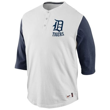 Nike Detroit Tigers Cooperstown Collection Old School Washed Three-Quarter Sleeve Henley - Natural