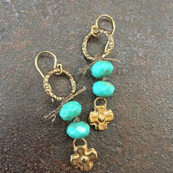 Long Boho Knotted Rustic Bronze Cross Dangle Earrings Organic Jewelry by Two Silver Sisters