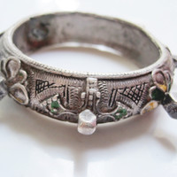 Moroccan Silver Bracelet with Knobs, Vintage Berber Jewelry