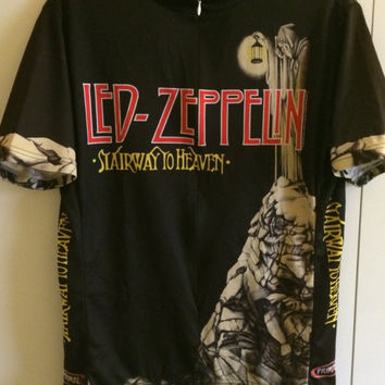 Sale!! Vintage LED ZEPPELIN bicycle jersey Stairway to Heaven retro punk rock rare shirt size Large Free US Shipping