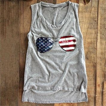 Women Basic 2017 Tank Crop Top American Flag Glasses Tops Loose Casual T-Shirt Cropped Tanks O Neck Summer Female Sleeveless