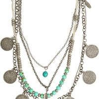 ETTIKA LAYERED ANTIQUE COIN&FEATHER NECKLACE